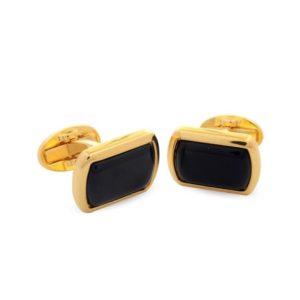 Запонки «Black»  прямоугольные, золото - Фото