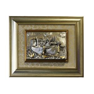 Картина в деревянной раме «Замком и лодка» - Фото