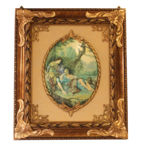 Картина на фарфоре «Свидание у ручья» - Фото