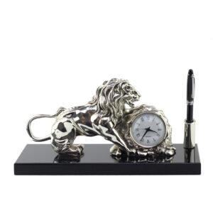 Статуэтка «Лев» с часами 30 х 15 см - Фото