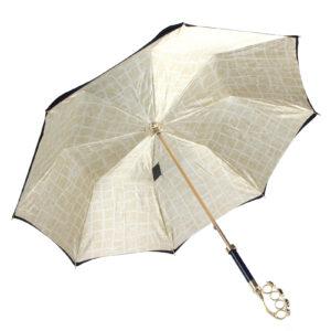 Зонт женский двойной с ручкой в виде кастета, Gold - Фото