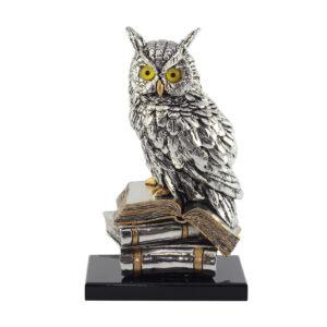 Статуэтка «Сова на книгах», серебро - Фото