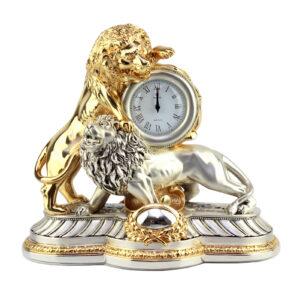 Часы настольные «Борьба львов» на подставке, 26 см - Фото