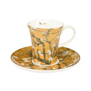 Чашка с блюдцем «Миндальное дерево» Винсент ван Гог, Gold - Фото