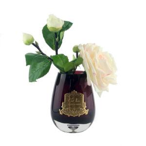 Парфюмированные цветы «Чайная роза в черной вазе» с ароматическим спреем Savon - Фото