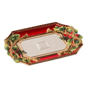 Блюдо прямоугольное, красное, 33 х 23 см, керамика - Фото