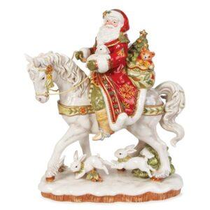 Статуэтка «Дед Мороз на белой лошади» 42 см - Фото