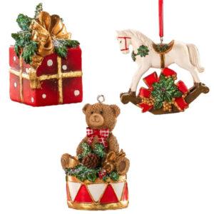 Набор из новогодних подвесных игрушек, 9 см - Фото