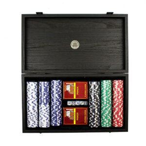 Покерный набор, орех, эко-кожа, 300 профи-фишек, 2 колоды карт - Фото