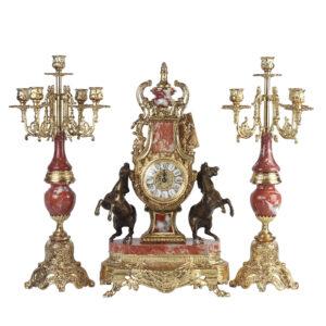 Каминный комплект «Лошади», часы и два канделябра - Фото