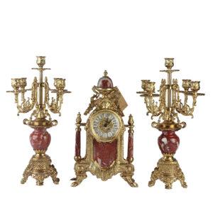 Каминный комплект: часы и два канделябра - Фото