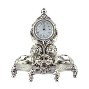 Часы настольные «Львы»/ Silver - Фото