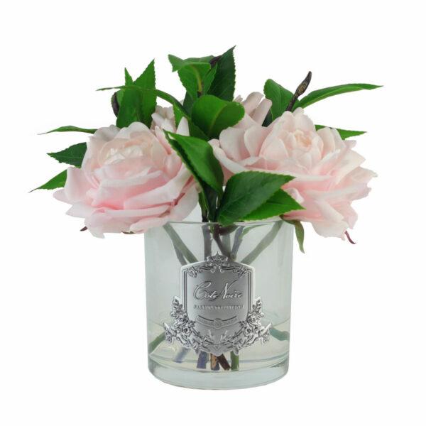 Парфюмированные цветы «Английская розовая роза в прозрачной вазе» с ароматическим спреем Savon