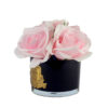 Парфюмированные цветы «5 розовых роз в черной вазе» с ароматическим спреем Savon