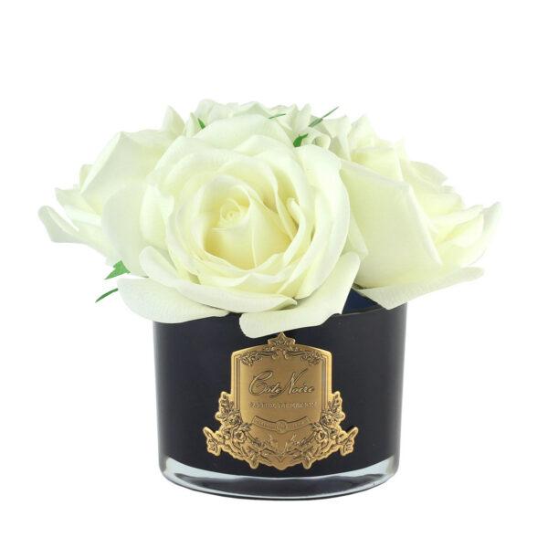 Парфюмированные цветы «5 белых роз в черной вазе» с ароматическим спреем Savon