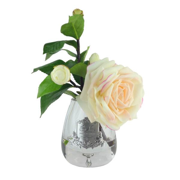 Парфюмированные цветы «Чайная роза в прозрачной вазе» с ароматическим спреем Savon