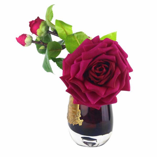 Парфюмированные цветы «Красная роза в бордовой вазе» с ароматическим спреем Savon