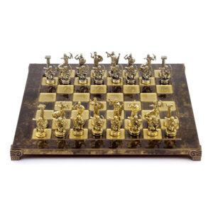 Шахматы Греко-Римская война, коричневая эмаль - Фото