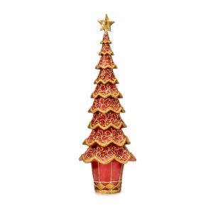 Статуэтка «Новогодняя елка» красный ажур, 43 см - Фото