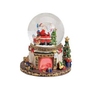 Снежный шар музыкальная шкатулка «Санта» с 8 мелодиями и подсветкой - Фото