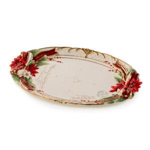 Блюдо овальное, красное, 48 см, керамика - Фото