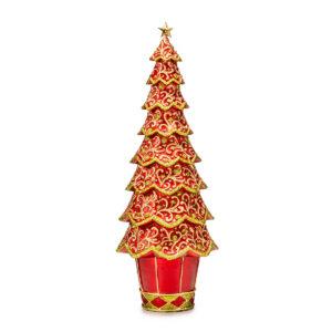 Статуэтка «Новогодняя елка» красный ажур, 33 см - Фото