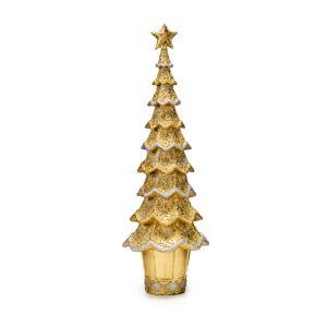 Статуэтка «Новогодняя елка» золотой ажур, 43 см - Фото