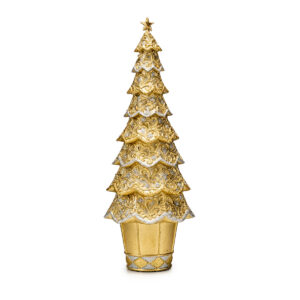 Статуэтка «Новогодняя елка» золотой ажур, 33 см - Фото
