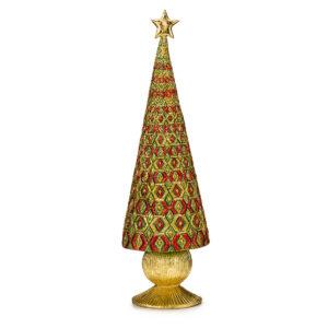 Статуэтка «Новогодняя елка» золотая с зеленым, 43 см - Фото