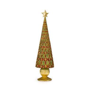 Статуэтка «Новогодняя елка» золотая с зеленым, 33 см - Фото