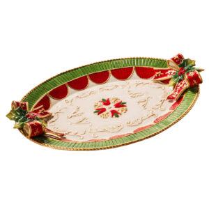 Блюдо овальное, зеленое с красным, 44 см, керамика - Фото