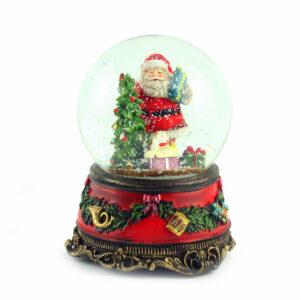 Музыкальная шкатулка-шар «Санта на мотоцикле» - Фото