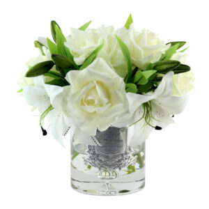 Парфюмированные цветы «Белые розы и лилии», арома спрей Savon - Фото