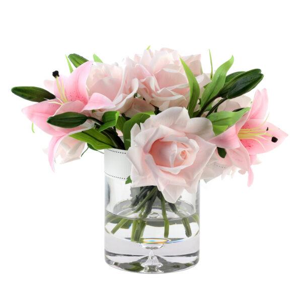 Парфюмированные цветы «Розовые розы и лилии», арома спрей Savon