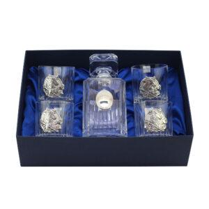 Сет для виски Boss Crystal «БЫК», графин, 4 стакана, серебро - Фото