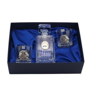 Набор для виски «Год быка» графин и 2 бокала, серебро - Фото