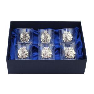 Набор хрустальных бокалов для виски «BULL» 6 шт, серебро - Фото