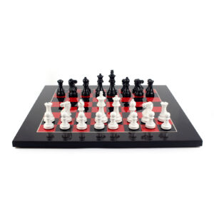 Шахматы «Lacquered»/чёрные с красным - Фото