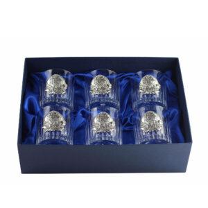 Сет хрустальных стаканов Boss Crystal «БОКАЛЫ ДИРЕКТОРСКИЕ», 6 бокалов, серебро - Фото
