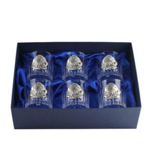 Сет хрустальных стаканов Boss Crystal «БОКАЛЫ ГЕНЕРАЛЬСКИЕ», 6 бокалов, серебро - Фото