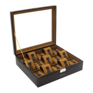 Шкатулка для хранения 15 часов «BOND» коричневая - Фото