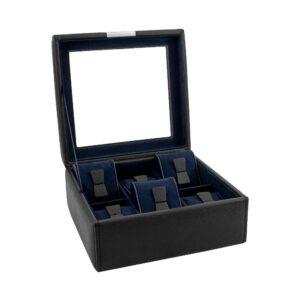 Шкатулка для хранения 6 часов «BOND» черно-синяя - Фото