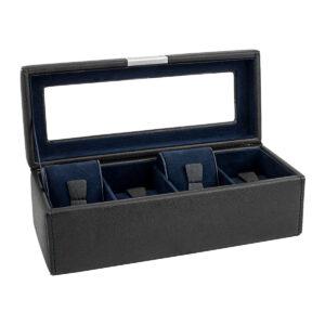 Шкатулка для хранения 4х часов «BOND» черно-синяя - Фото