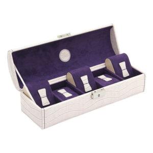 Шкатулка для хранения 5 часов «Le Croc» бело-пурпурная - Фото