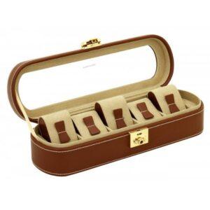 Шкатулка для хранения 5 часов «Cardoba» коричнево-золотая - Фото