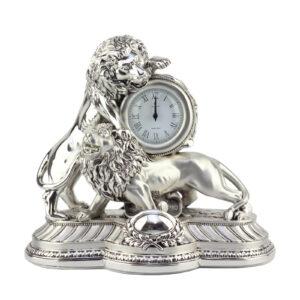Часы настольные «Борьба львов»/ Silver - Фото