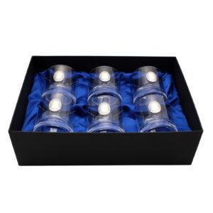 Сет хрустальных стаканов Boss Crystal «МОДЕРН», 6 бокалов, серебро - Фото