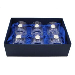 Сет хрустальных стаканов Boss Crystal знак зодиака «ЛЕВ»/ серебро - Фото