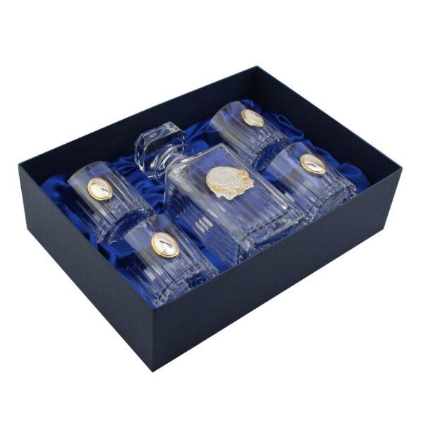 Сет для виски Boss Crystal «ГЕНЕРАЛЬСКИЙ КВИНТА GOLD», графин, 4 стакана, золото и серебро